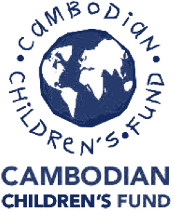the Cambodian Children's Fund logo: a drawing of the Earth with the words 'Cambodian Children's Fund' drawn in childlike handwriting in a circle around it, and also written underneath it